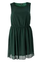 Koko Green Sleeveless Skater Dress